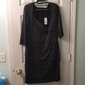 White House Black Market Silver bandage dress